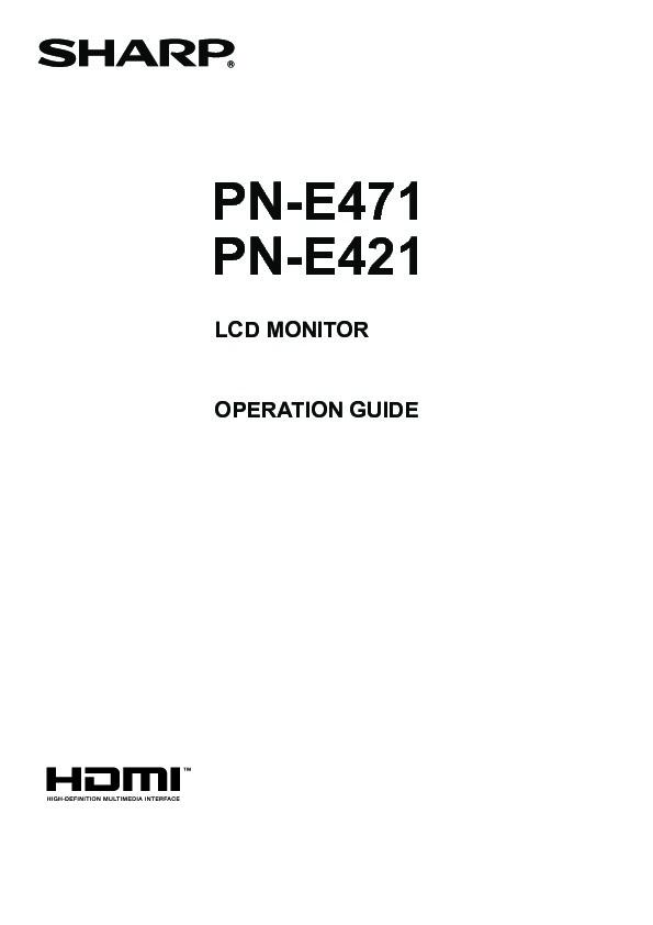 Sharp PN-E471 (SERV.MAN12) Software / Firmware — View