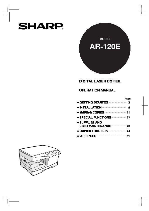 Sharp AR-120E (SERV.MAN13) Technical Bulletin — View