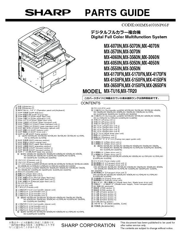 Sharp MX-5050N, MX-5050V, MX-5070N, MX-5070V, MX-6050N, MX
