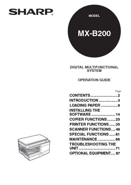 Sharp MX-B200 (SERV.MAN6) Parts Guide — View online or