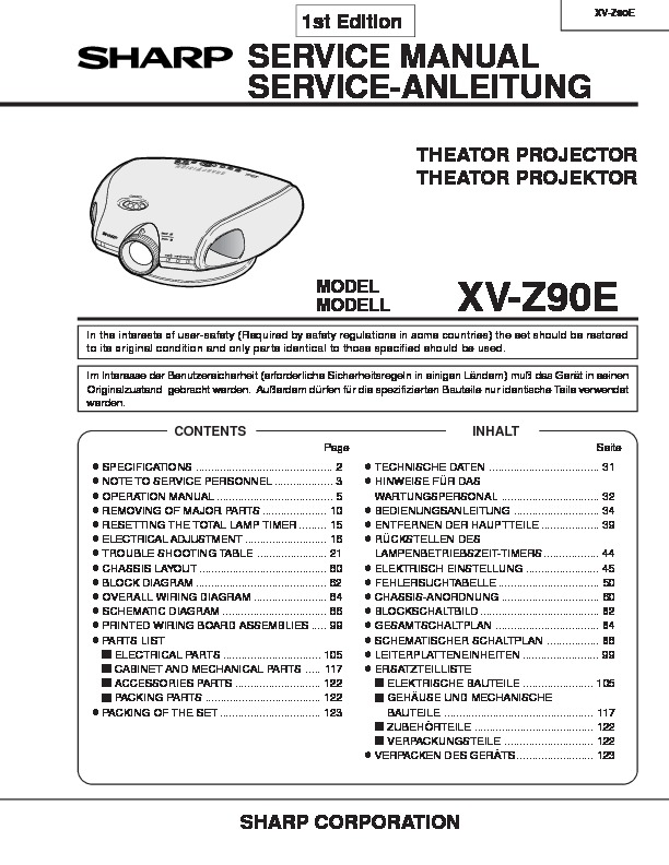 Sharp XV-Z90E (SERV.MAN3) Service Manual — View online or