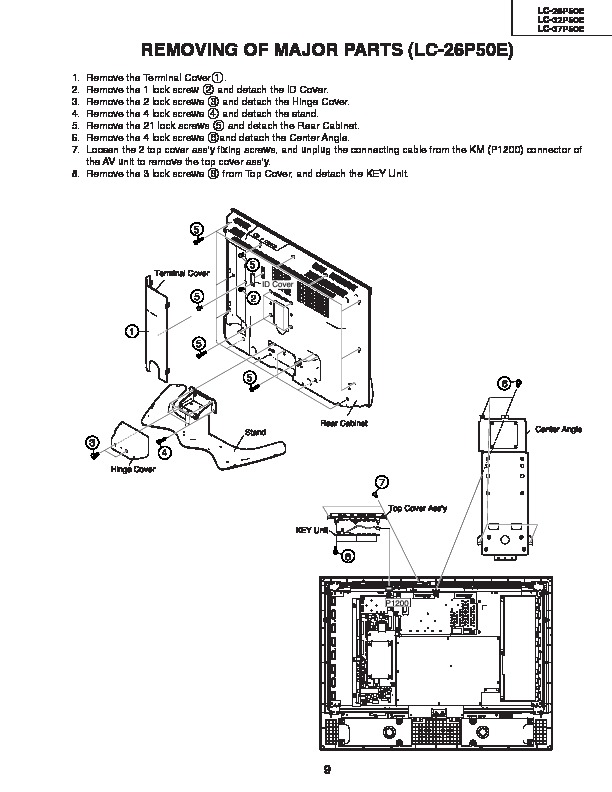 Sharp LC-26P50E Handy Guide — View online or Download
