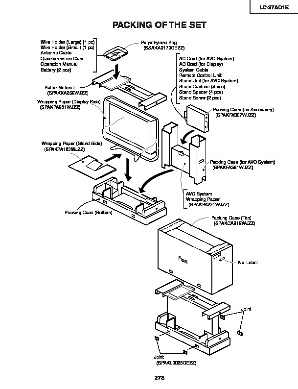 Sharp LC-37AD1E (SERV.MAN31) Service Manual — View online