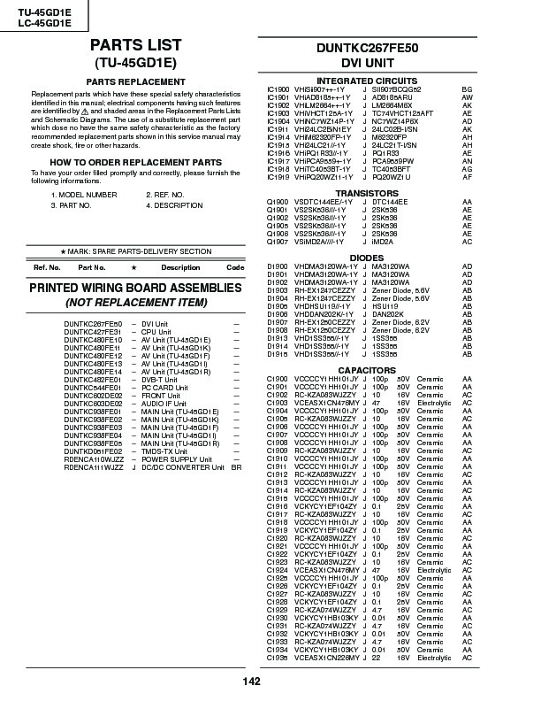 Sharp LC-45GD1E (SERV.MAN36) Service Manual — View online