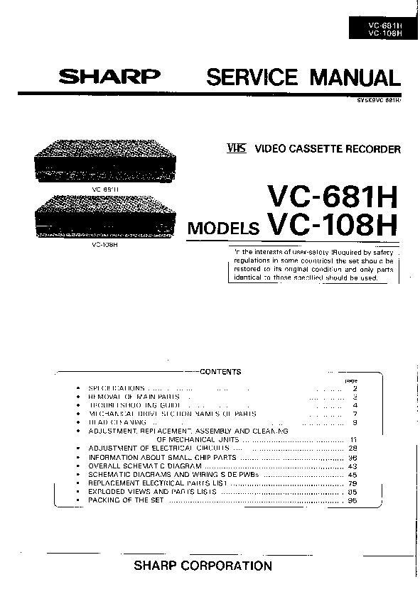 Sharp VCR Service Manuals and Schematics — repair