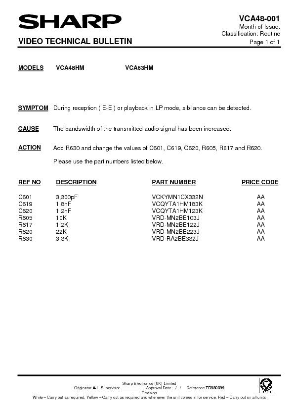 Sharp VC-A63HM (SERV.MAN17) Technical Bulletin — View