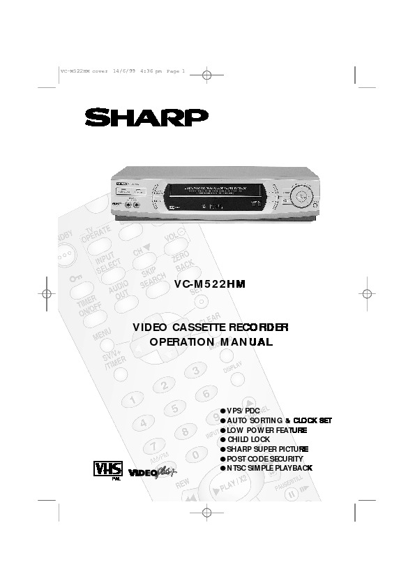 Sharp VC-M522HM (SERV.MAN29) User Guide / Operation Manual