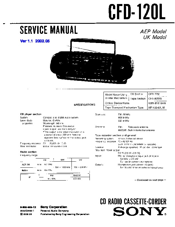 Sony CFD-120L Service Manual — View online or Download