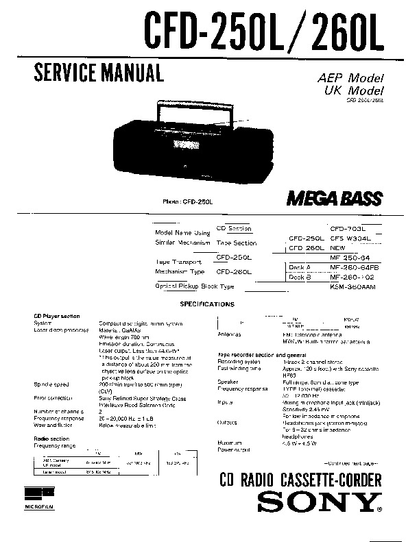 Sony CFD-250L, CFD-252L, CFD-260L Service Manual — View