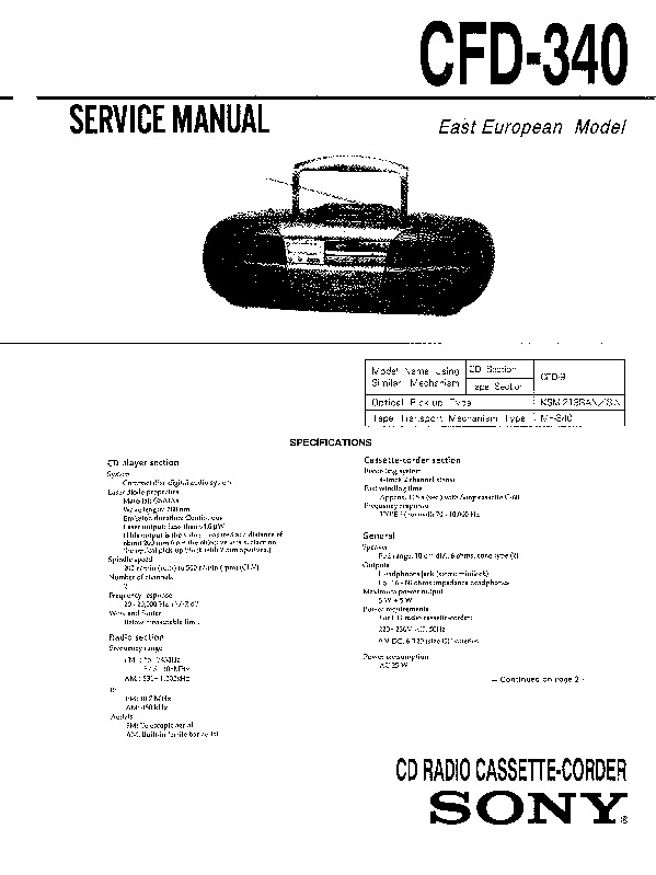 Sony CFD-19, CFD-340, CFD-350 (SERV.MAN3) Service Manual