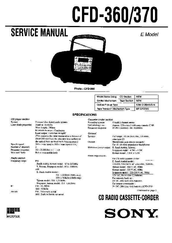 Sony CFD-360, CFD-370 (SERV.MAN3) Service Manual — View