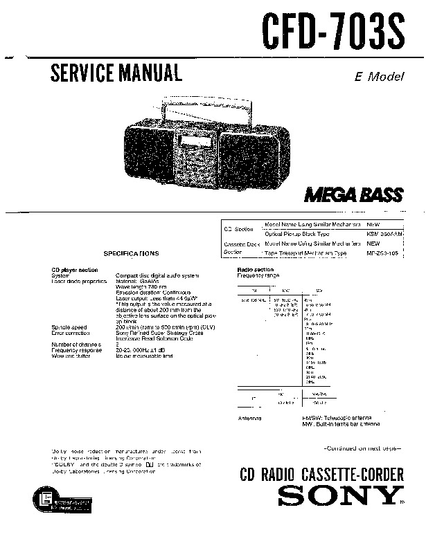 Sony CFD-610, CFD-7, CFD-8 Service Manual — View online or