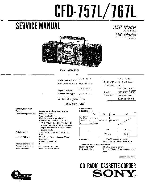 Sony CFD-757L, CFD-767L Service Manual — View online or