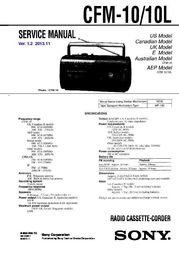 Sony CFM-10, CFM-10L Service Manual — View online or