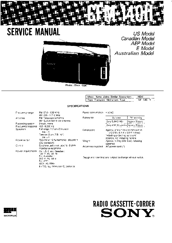 Sony CFM-140-2 Service Manual — View online or Download