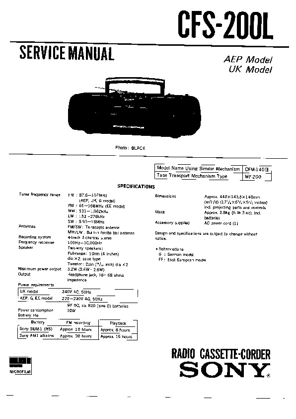 Sony CFS-200L (SERV.MAN4) Service Manual — View online or