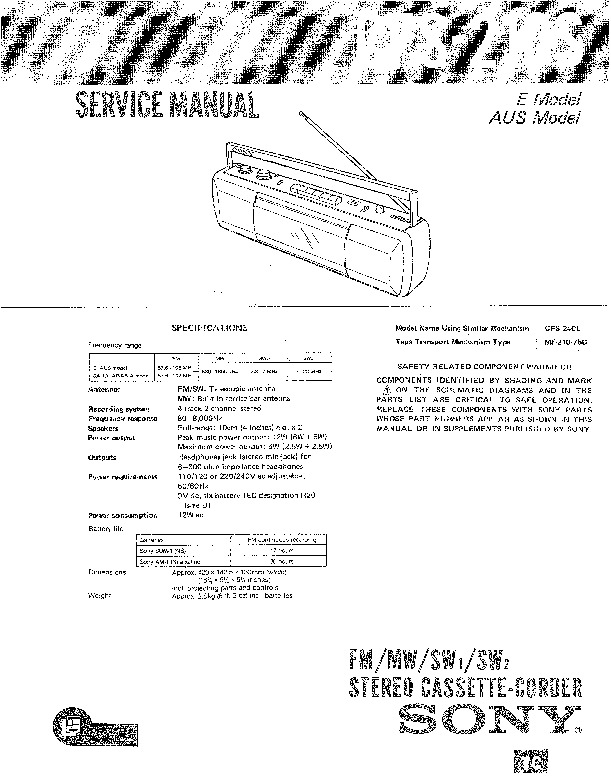 Sony CFS-210S Service Manual — View online or Download