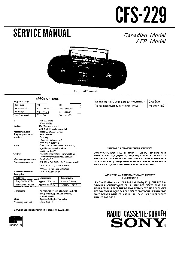 Sony CFS-229 Service Manual — View online or Download