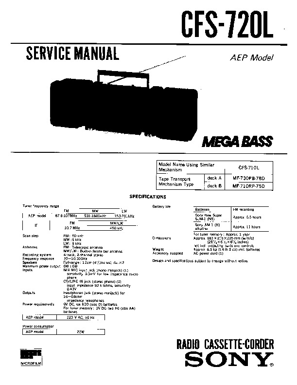 Sony CFS-720L Service Manual — View online or Download