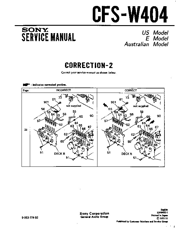 Sony CFS-W404 Service Manual — View online or Download