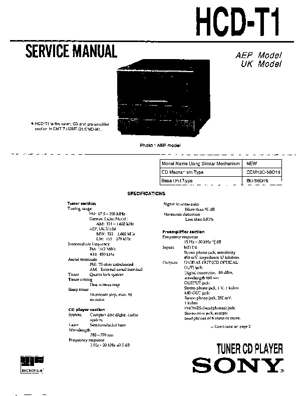 Sony HCD-T1 Service Manual — View online or Download