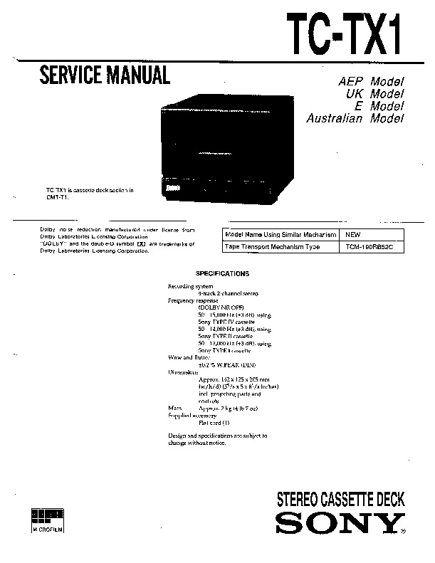 Sony TC-TX1 Service Manual — View online or Download