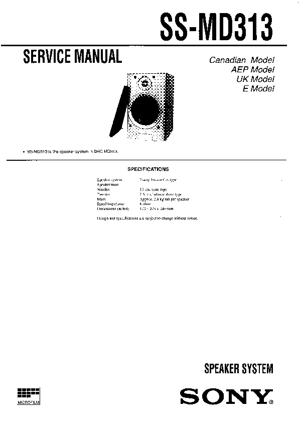 Sony DHC-MD313, SS-MD313 Service Manual — View online or