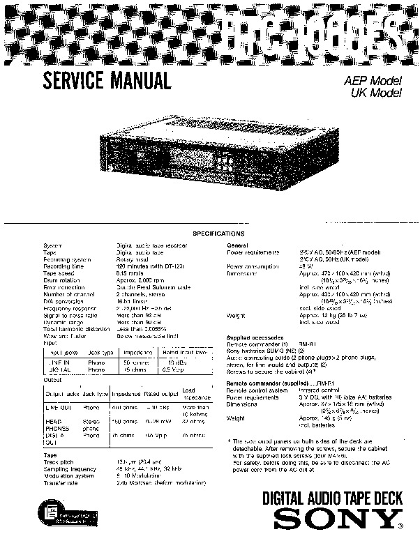 Sony DTC-1000ES Service Manual — View online or Download