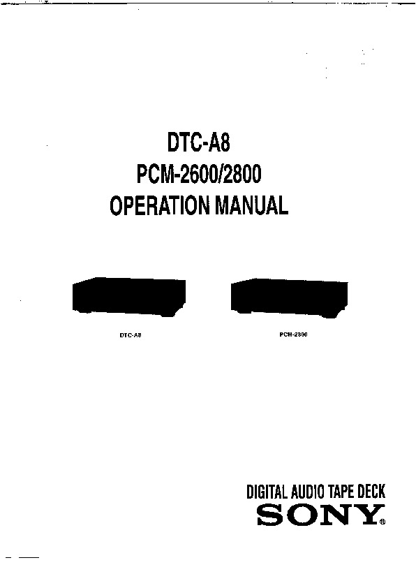 Sony DTC-A8 Service Manual — View online or Download