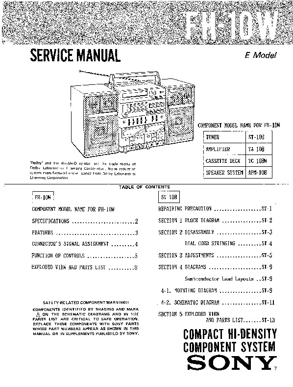 Sony FH-10W Service Manual — View online or Download
