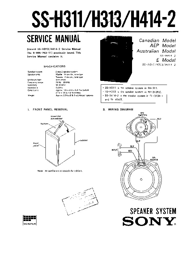 Sony FH-311R Service Manual — View online or Download