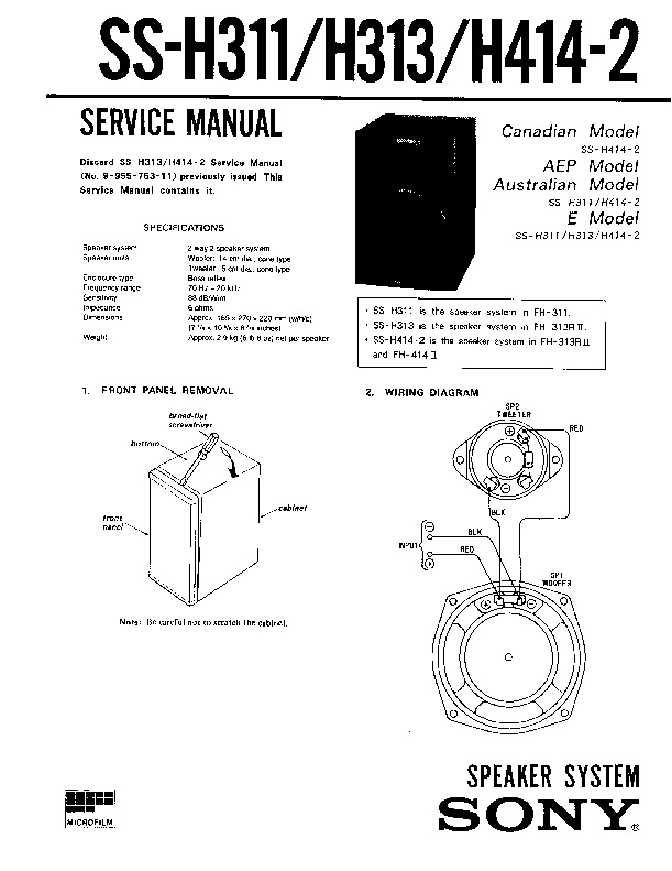 Sony FH-311 Service Manual — View online or Download