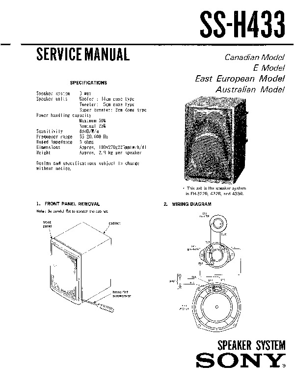 Sony FH-322R, FH-422R, SS-H433 Service Manual — View