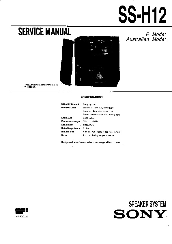 Sony FH-B1200 Service Manual — View online or Download