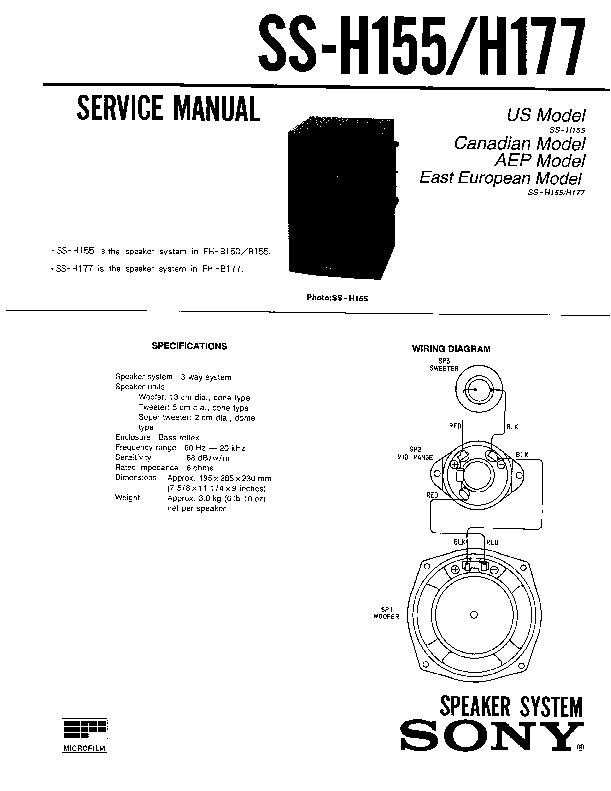 Sony FH-B150, FH-B155, MHC-500 Service Manual — View