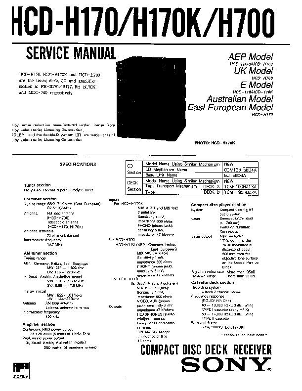 Sony FH-B155, FH-B166, FH-B177, SS-H155, SS-H177 Service