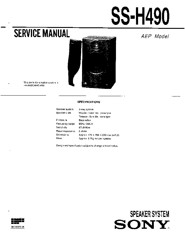 Sony FH-B490, MHC-490, SS-H490 Service Manual — View