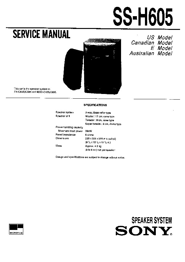 Sony FH-CX65, MHC-C605 Service Manual — View online or