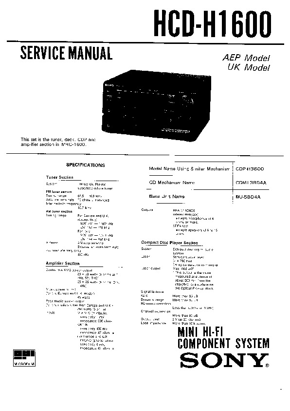 Sony FH-E636CD, MHC-1600, TC-H1600 Service Manual — View