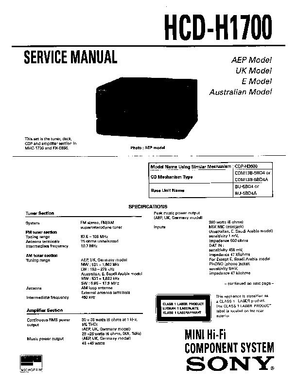 Sony FH-E656, HCD-H1700, MHC-1700 Service Manual — View