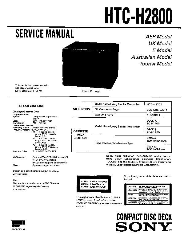 Sony FH-E6X, HTC-H2800, MHC-2800 Service Manual — View
