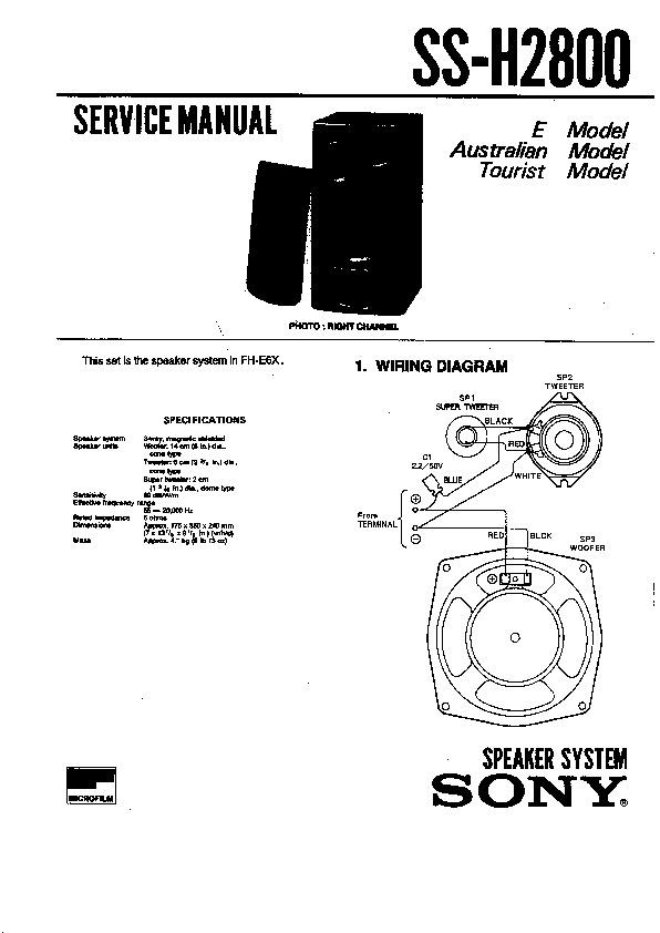 Sony FH-E6X, MHC-2800, SS-H2800 (SERV.MAN2) Service Manual