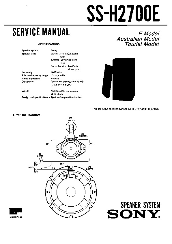 Sony FH-E757, SS-H2700E Service Manual — View online or