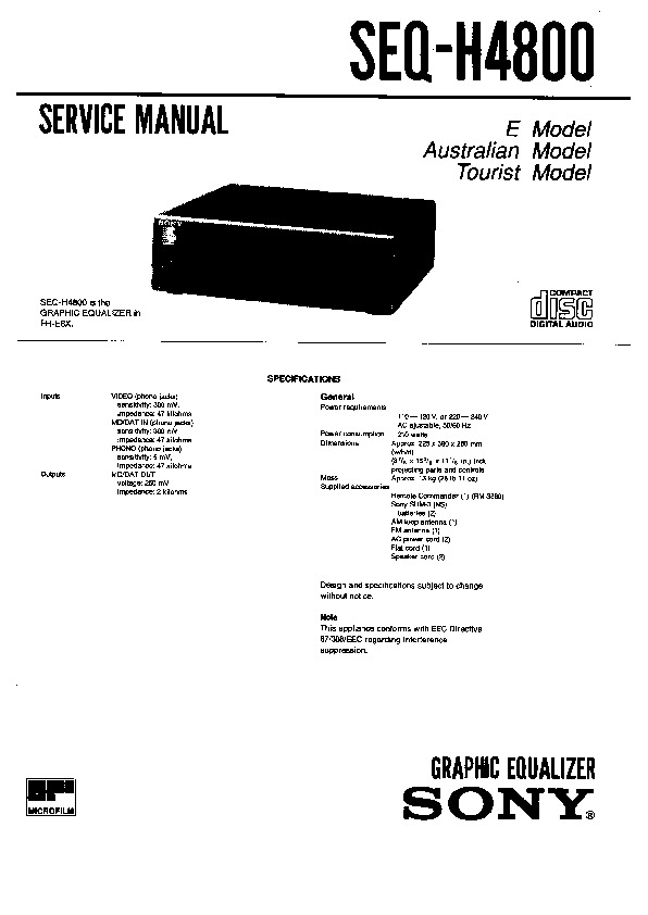 Sony MHC-4800 Service Manual — View online or Download