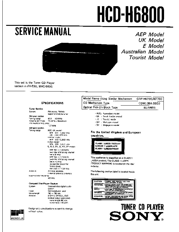 Sony FH-E9X, MHC-6800, TC-H6800 Service Manual — View