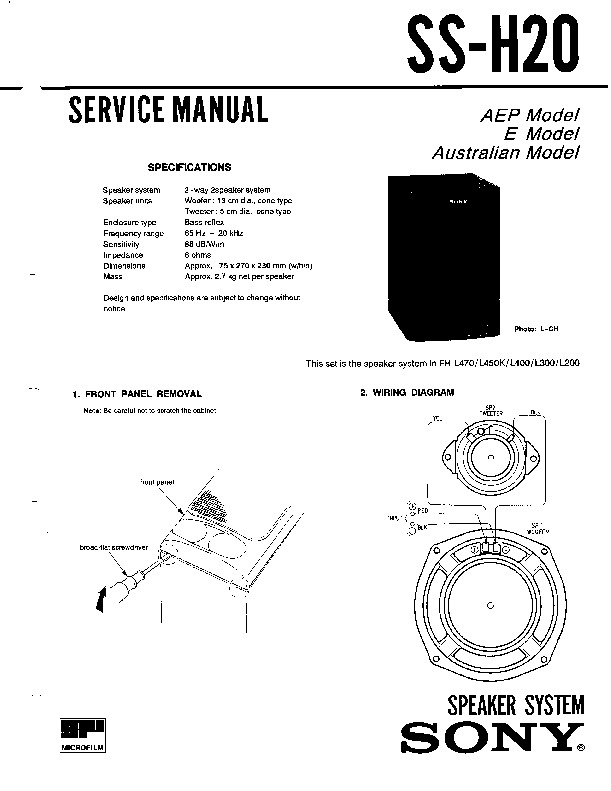 Sony FH-L300, HST-H30 Service Manual — View online or