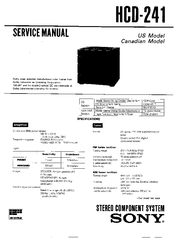 Sony HCD-241 Service Manual — View online or Download