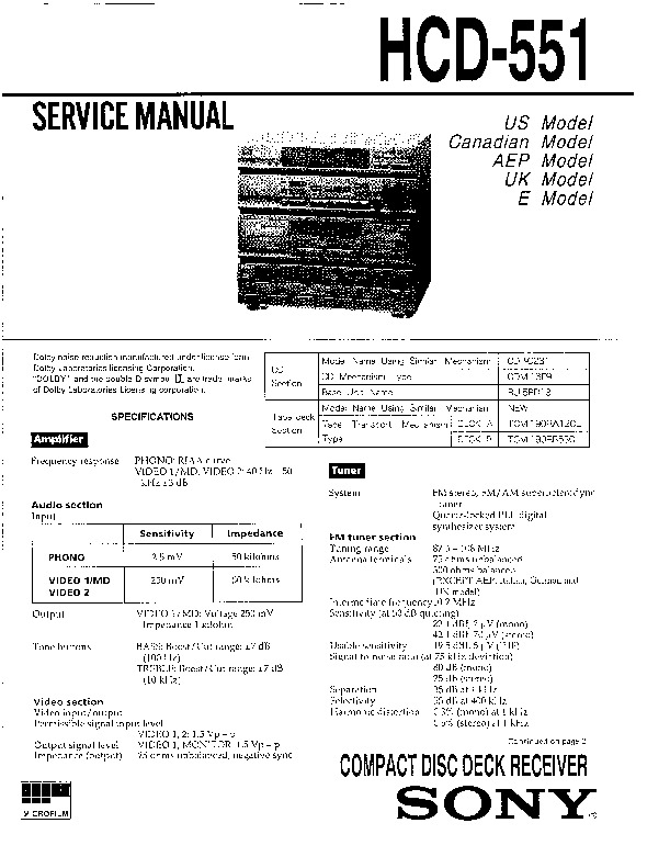 Sony HCD-551 Service Manual — View online or Download
