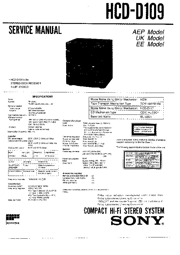 Sony LBT-D110CD Service Manual — View online or Download