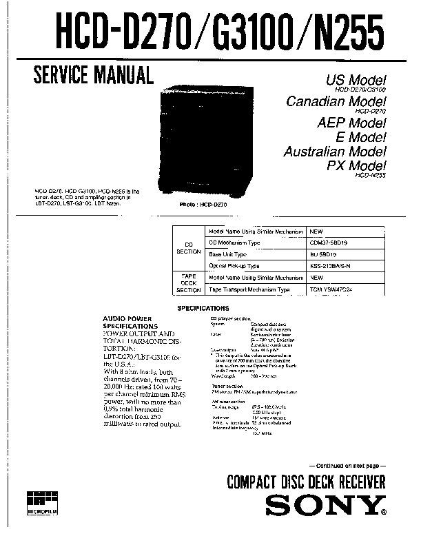 Sony HCD-D270, HCD-G3100, HCD-N255 (SERV.MAN2) Service